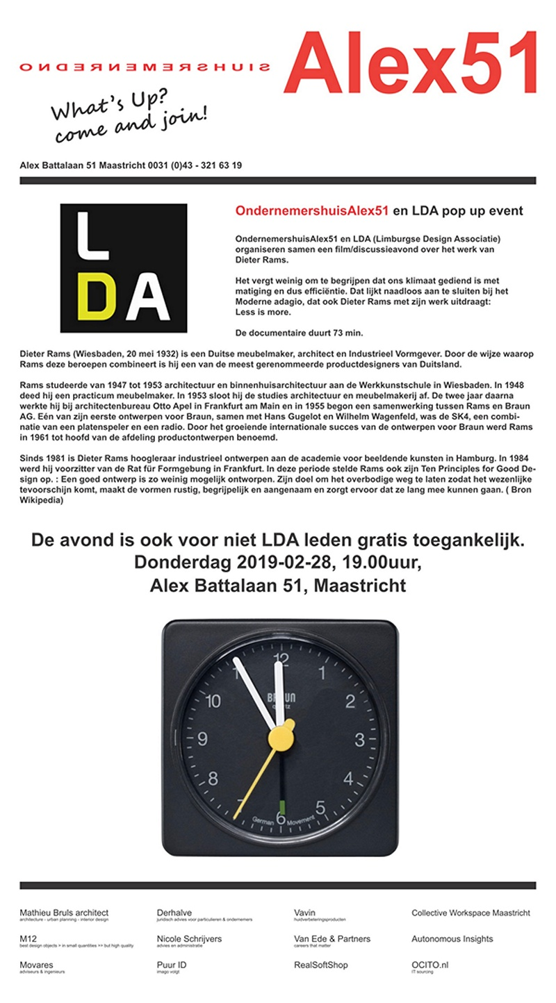 LDA Alex51 pop up event Alex51 Dieter Rams 01